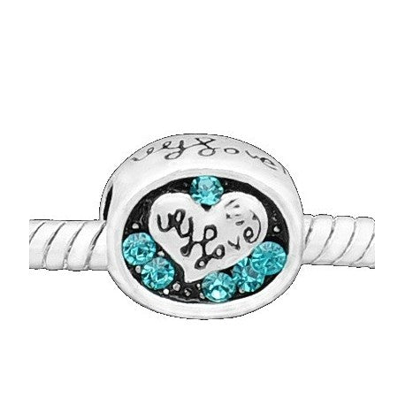 I Love You Light Blue Rhinestone Charm Bead