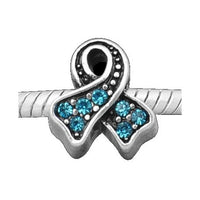 Light Blue Rhinestone Breast Cancer Awareness Charm Bead