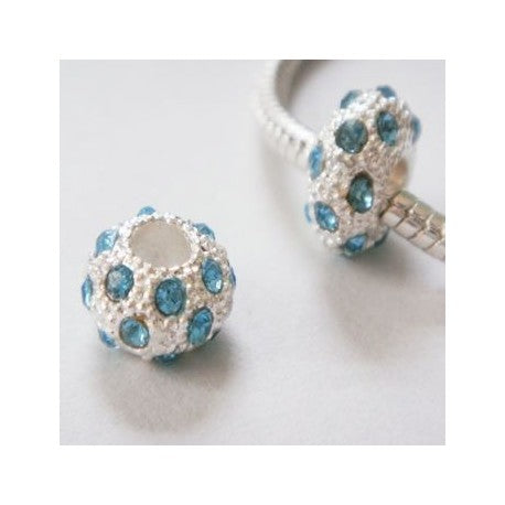 Light Blue Rhinestones Charm Bead