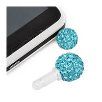 Light Blue Swarovski Crystal Ball Phone Charm