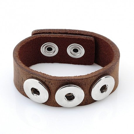 Light Brown Leather Chunk Charm Bracelet. For Snap Button Chunk Charms.