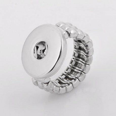 One Size Fits All Elastic Metal Chunk Charm Ring. For Snap Button Chunk Charms.