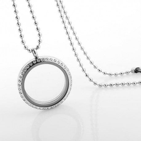 Round Crystal Necklace Floating Charm Locket