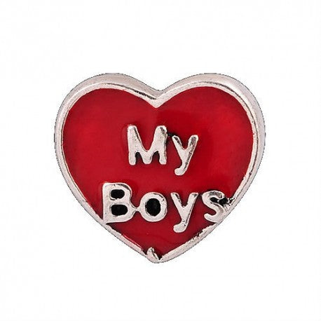 Floating Love My Boys Heart Charm Compatible With Origami Owl Lockets