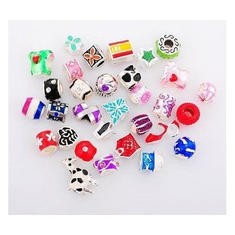 Pack Of 10 Assorted Colorful Enamel and Rhinestone Charm Beads. Fits All Major Charm Bracelets.