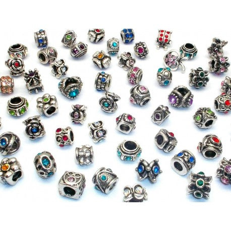 Pack Of 10 Assorted Crystal Rhinestone Charm Beads. Fits All Major Charm Bracelets.