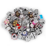Pack Of 10 Assorted Silver And Rhinestone Charm Beads. Fits All Major Charm Bracelets.