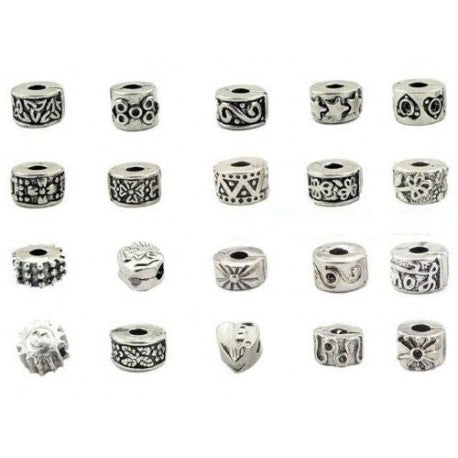 Pack of 25 Assorted  Clip Lock Stopper Beads