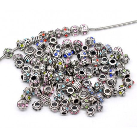 Pack Of 25 Assorted Rhinestone Charm Beads. Fits All Major Charm Bracelets.
