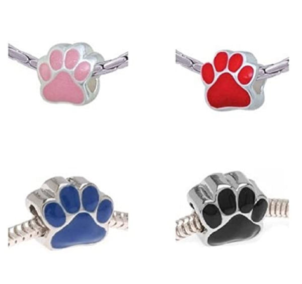 Pack of 4 Silver Tone Enamel Black, Red, Pink, And Blue Paw Charm Beads