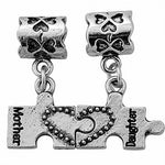 2 Piece Mother Daughter Puzzle Piece Dangle Bead Charm