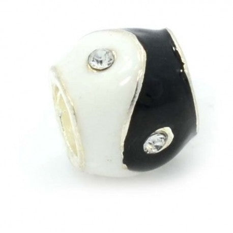 Buckets of Beads Black And White Enamel Yin Yang Charm Bead