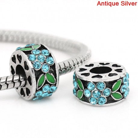 Buckets of Beads Rhinestone Flower Spacer Charm Bead, Blue/Green
