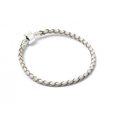 (Champagne 8.3 / 21cm)  Barrel Clasp Leather Bracelet