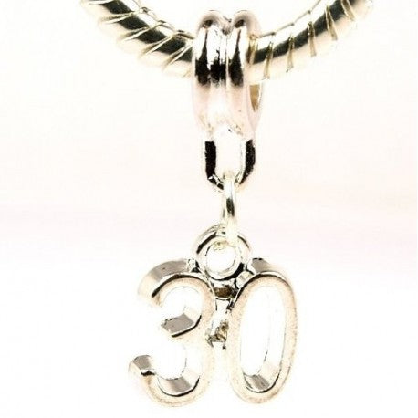Happy 30th Birthday Dangle Charm Bead
