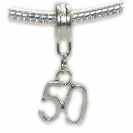 Happy 50th Birthday Dangle Charm Bead