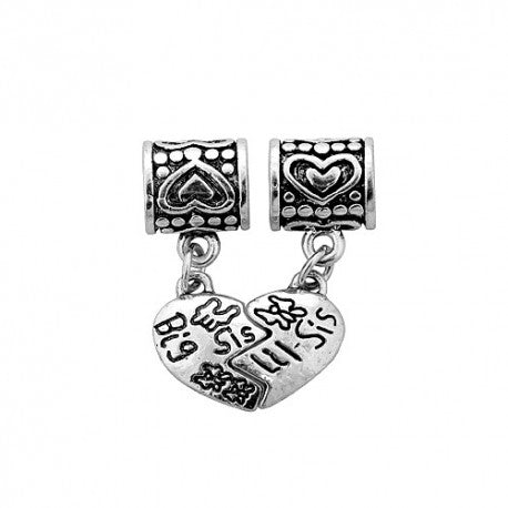 2 Piece Big Sis Lil Sis Dangle Charm Bead