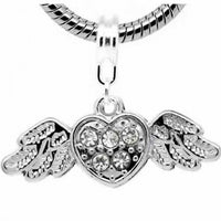 Heart With Wings Dangle Charm Bead