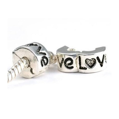 Love Clip Lock Stopper Bead Charm
