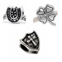 Pack Of 3 Good Luck Clover Horse Shoe Cross Charm Bead