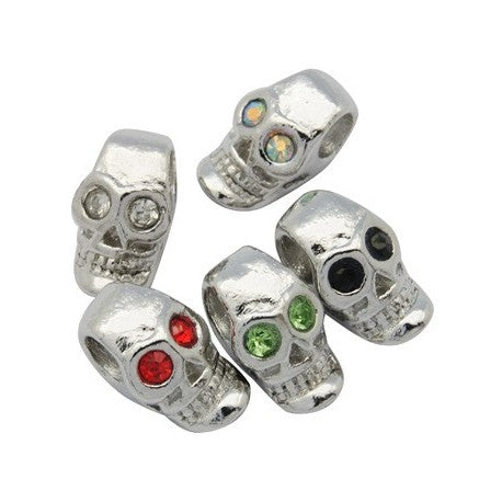 Pack of Five Colorful Rhinestone Skeleton Skull Crystal Charm Beads
