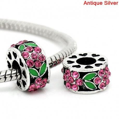 Pink And Green Rhinestone Flower Spacer Bead