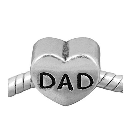 Plain Heart Shape Dad Charm Bead
