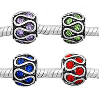 Rhinestone Swirls Pack of Four (4) Spacer Bead Charms