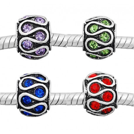 Buckets of Beads Rhinestone Swirls Spacer Bead Charms, 4-Pack