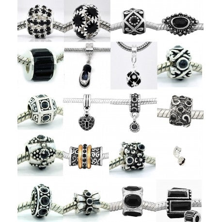 Ten (10) of Assorted Shades of Black Crystal Rhinestone Charm Beads