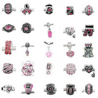 Ten (10) of Assorted Shades of Pink Crystal Rhinestone Charm Beads