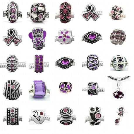 Ten (10) of Assorted Shades of Purple Crystal Rhinestone Charm Beads