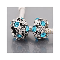 Peacock Blue Stones Flowers Charm Bead