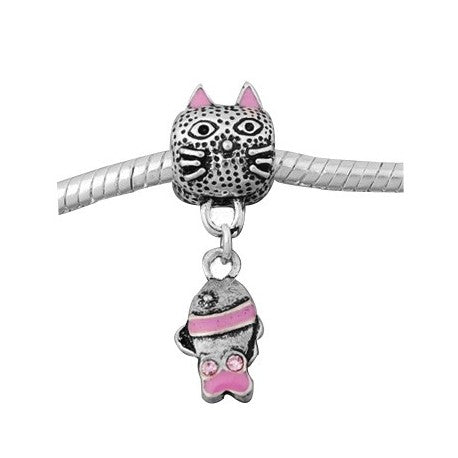 Pink Cat And Fish Dangle Charm Bead