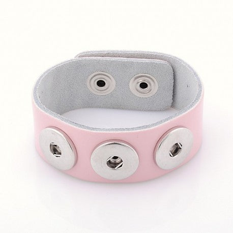 Pink Leather Chunk Charm Bracelet. For Snap Button Chunk Charms.