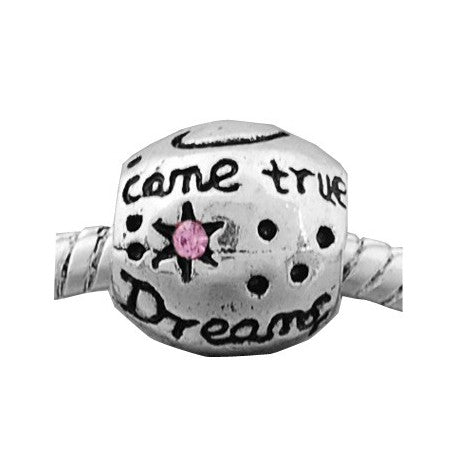 Pink Rhinestone Dreams Come True Charm Bead