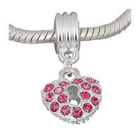 Pink Rhinestone Heart Dangle Charm Bead