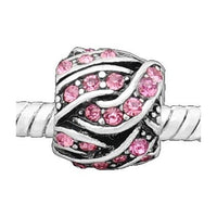 Pink Rhinestone Knitting Ball Charm Bead