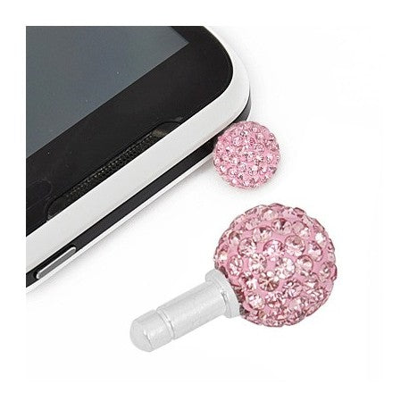 Pink Swarovski Crystal Ball Phone Charm