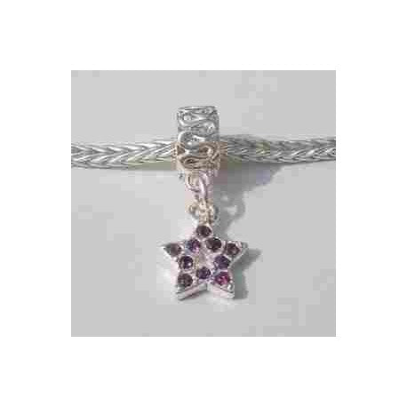 Purple Rhinestone Star Dangle Charm Bead