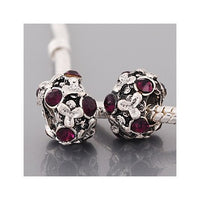 Purple Stones Flowers Charm Bead