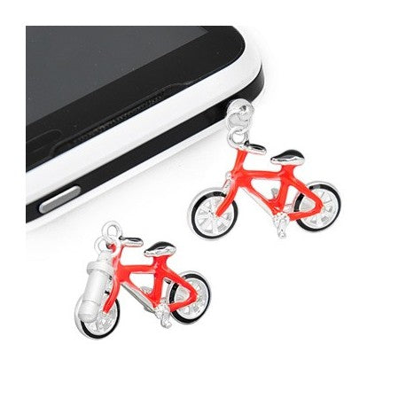 Red Enamel Bicycle Phone Charm