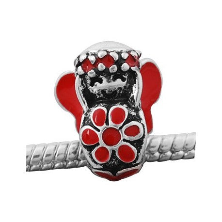 Red Flower Child Charm Bead