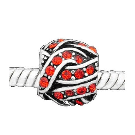 Red Rhinestone Knitting Ball Charm Bead