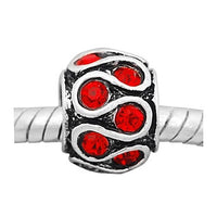 Red Rhinestone Swirls Charm Bead