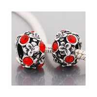 Red Stones Flowers Charm Bead