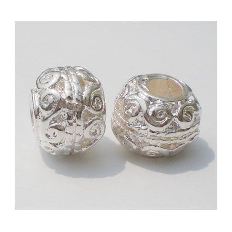 Silver Scroll Spacer Charm Bead