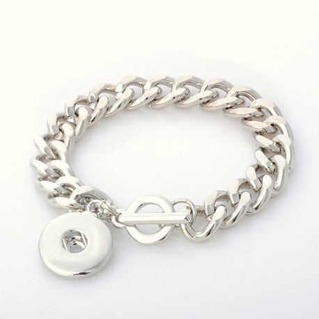 Silver Tone Metal Toggle Clasp Chunk Charm Bracelet. For Snap Button Chunk Charms.