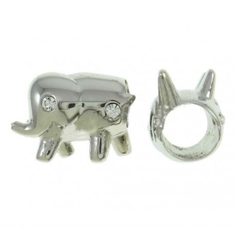 Stainless Steel Clear Stone Elephant Charm Bead