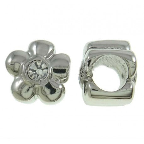Stainless Steel Clear Stone Flower Charm Bead